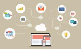 On-line-Netz des flachen Geschäfts auf Gerätanwendung Stockfotos