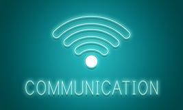 On-line-Netz Wifi-Kommunikations-Ikonen-Konzept Lizenzfreies Stockbild