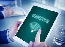 On-line-Netz Wifi-Kommunikations-Ikonen-Konzept Stockfotos