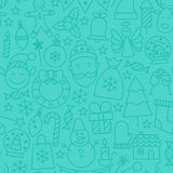 Line New Year Tile Blue Pattern. Vector Winter Seamless Background in Outline Style. Merry Christmas Stock Photography