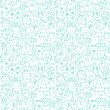 Line New Year Tile White Pattern. Vector Winter Seamless Background in Outline Style. Merry Christmas Stock Photography