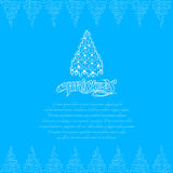 Line new year tree on christmas lettering on blue background stock illustration