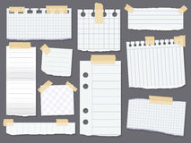 Line note papers. Scotch taped lined paper pieces Royalty Free Stock Photos