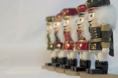 A Line of Nutcrackers. With the nearest one in focus royalty free stock images