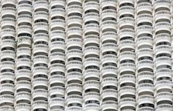 Line Of Circular Balconies On White Skyscraper. Royalty Free Stock Images
