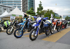 Line of off road motorbikes Royalty Free Stock Photography