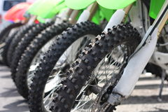 Line of off road motorbikes Stock Images