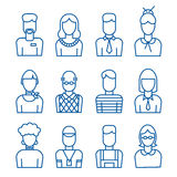 Line office avatar set Royalty Free Stock Image