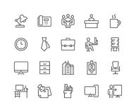 Line Office Icons. Simple Set of Office Related Vector Line Icons. Contains such Icons as Business Meeting, Workplace, Office Building, Reception Desk and more Stock Photos