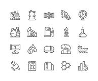 Line Oil Icons. Simple Set of Oil Related Vector Line Icons. Contains such Icons as Gas Station, Oil Factory, Transportation and more. Editable Stroke. 48x48 royalty free illustration