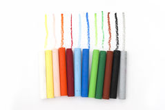 Line of oil pastels Stock Images