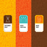Line Oktoberfest Patterns Set Stock Photos