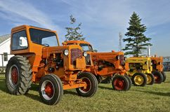 Line of old restored Minneapolis Moline tractors Royalty Free Stock Image
