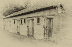 Line of old sheds vintage effect Stock Photo
