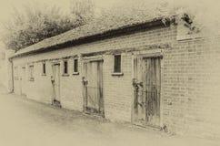 Line of old sheds vintage effect Stock Photo