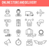 Line online sale icon set Royalty Free Stock Images