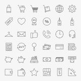 Line Online Shopping and Commerce Icons Big Set. Vector Set of 36 E-commerce and Marketing Modern Thin Line Icons for Web and Mobile Royalty Free Stock Image