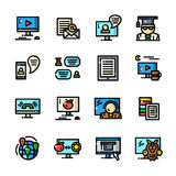 Line Online training icons, vector illustration Royalty Free Stock Photo