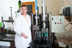 Line operator working in wine factory Royalty Free Stock Photos
