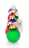 Line of Ornaments on White - Waiting on Christmas Stock Image