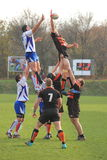 Line-out in international rugby Stock Photo