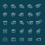 Line packaging icons set on blue background Stock Photos