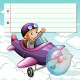 Line paper design with boy on airplane Royalty Free Stock Images