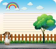 Line paper design with dog on the sidewalk Royalty Free Stock Photo