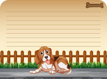 Line paper design with puppy on the sidewalk Royalty Free Stock Photo