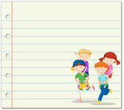 Line paper with kids playing piggy back ride in background Royalty Free Stock Photography