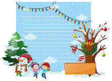 Line paper with kids and snowman Stock Image