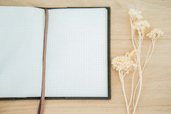 Line paper notebook open on wood texture background Royalty Free Stock Image