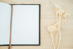 Line paper notebook open on wood texture background Stock Photo