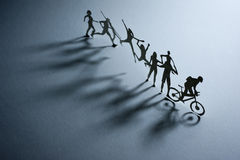 Line of Paper People Stock Image
