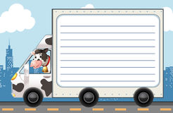 Line paper template with cow in the truck Royalty Free Stock Images