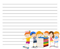 Line paper template with kids reading book background. Illustration Stock Image