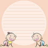Line paper template with two infants Royalty Free Stock Photography