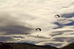 Line of parachutes Stock Photo