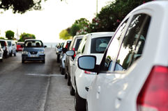 Line of parked cars Royalty Free Stock Photography