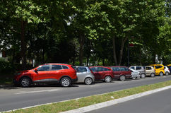 Line of Parked Cars Royalty Free Stock Images