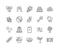 Line Party Icons. Simple Set of Related Vector Line Icons. Contains such Icons as Bouquet of Flowers, Karaoke, Dj, Masquerade and more. Editable Stroke. 48x48 Royalty Free Stock Photos