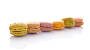 Line of pastel colored french macarons Stock Photo