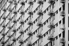 Line pattern of Architecture geometric. Details of balcony building. Modern wall. Polygonal structure. Black and white of Abstract. Background royalty free stock photography