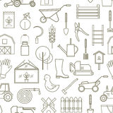 Line pattern farmer, gardening tools. Line seamless pattern icon farmer, gardening tools on white background. 30 high quality simple linier icons. Vector Stock Photos