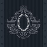 Line Pattern With Oval Frame In center. Vintage label Stock Images