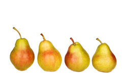 Line of pears isolated on white. Background Royalty Free Stock Photography