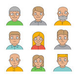 Line people avatars for profile and web. Line people avatars for web. Vector linear icons, sign and symbols for profile stock illustration