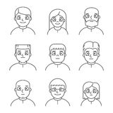 Line people avatars for profile and web. Line people avatars for web. Vector linear icons, sign and symbols for profile royalty free illustration