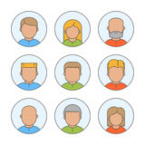 Line people avatars for web. Vector linear icons, sign and symbols for profile royalty free illustration