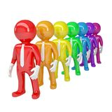 A line of people of color. Isolated 3d rendering Royalty Free Stock Photography